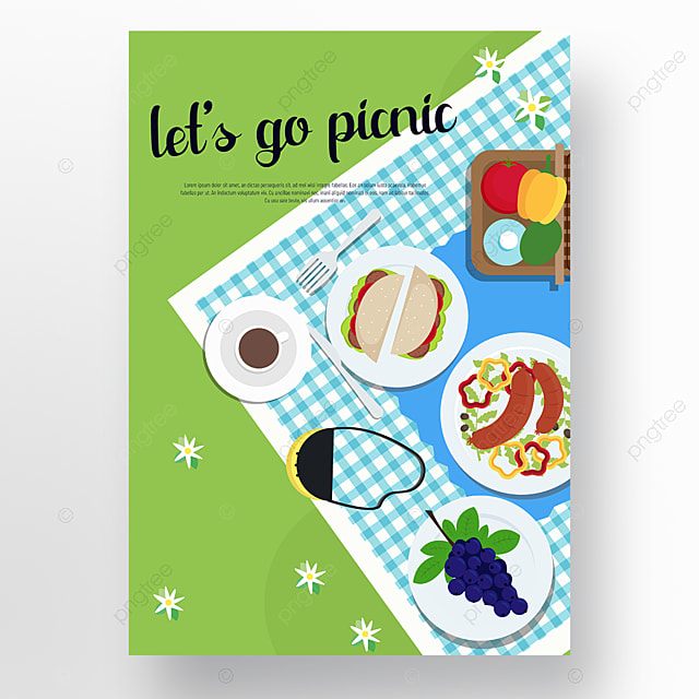 commercial hand drawn green lawn blue plaid cloth picnic day poster