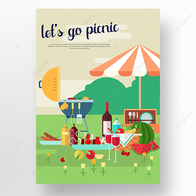 commercial hand drawn green umbrellas barbecue rack wine picnic day poster