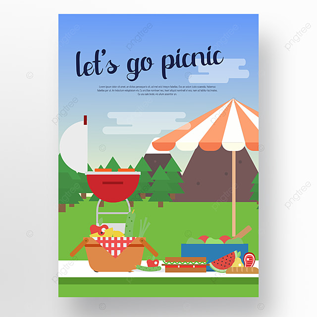 commercial hand drawn hills trees picnic party picnic day poster
