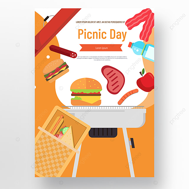 commercial hand drawn orange barbecue grill basket burger picnic day poster