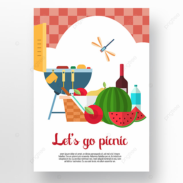 commercial hand drawn plaid cloth dragonfly watermelon red wine picnic day poster