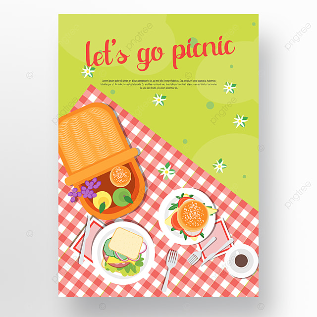 commercial hand drawn plaid cloth realistic sandwich burger picnic day poster