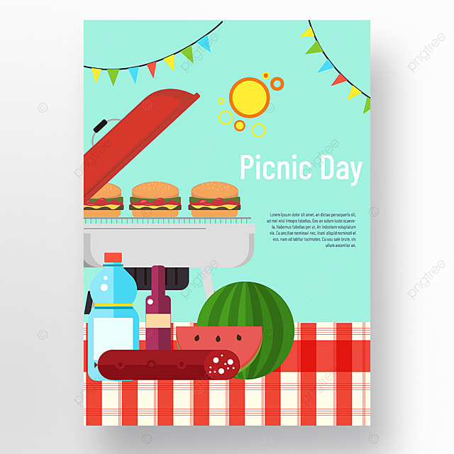 commercial hand drawn plaid cloth watermelon sausage small bunting picnic day poster