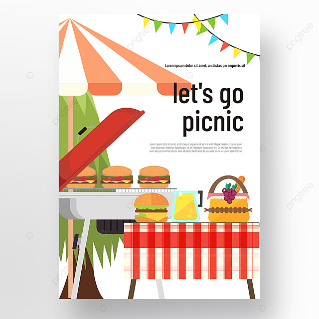 commercial hand drawn white umbrellas barbecue grill small bunting picnic day poster