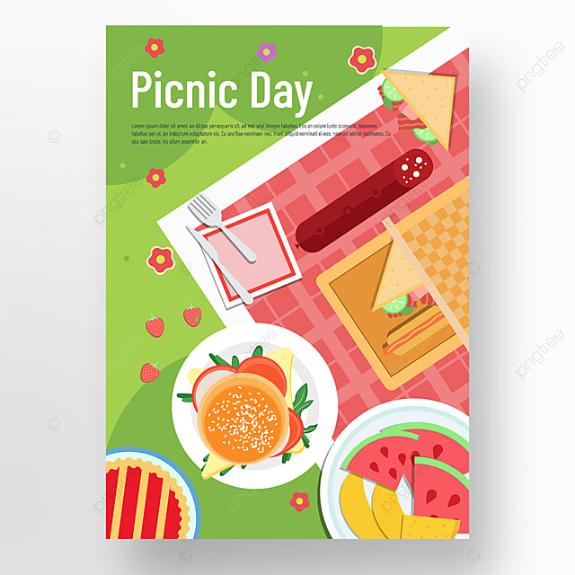 commercial hand painted green lawn floret burger fruit plate picnic day poster