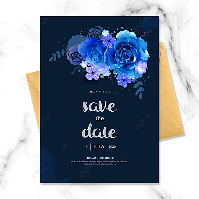 dark blue bouquet wedding invitation