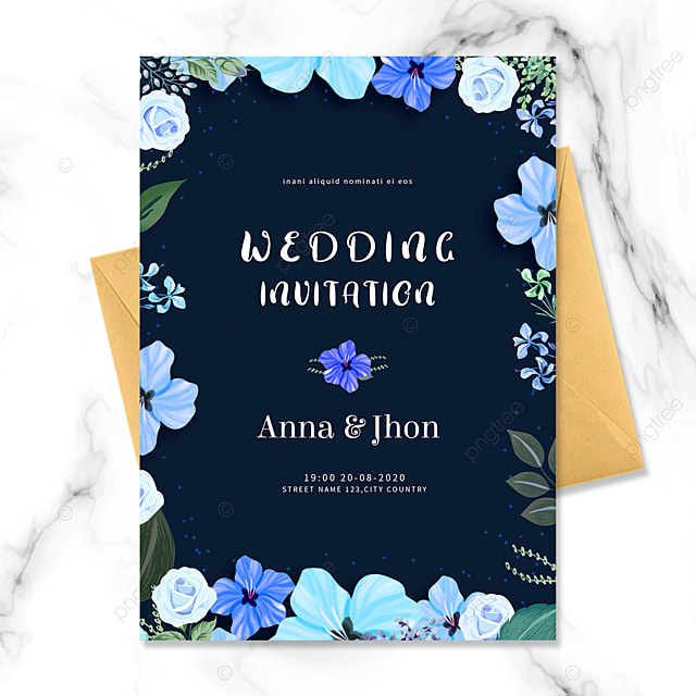 dark blue flower border wedding invitation