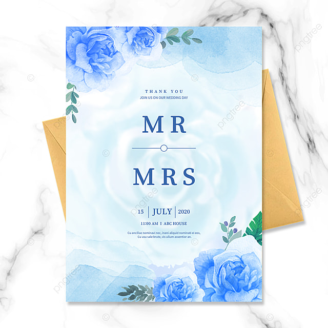 elegant watercolor blue flowers wedding invitation