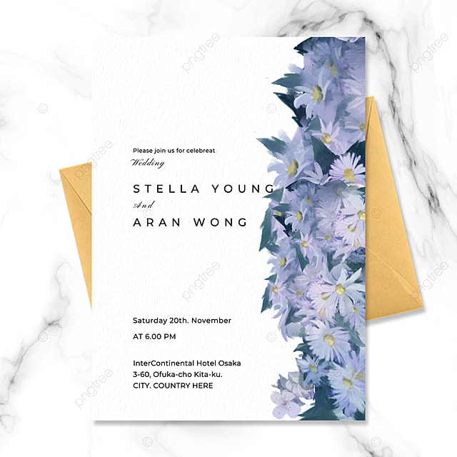 high end atmosphere exquisite blue flowers jungle watercolor texture happy wedding invitation