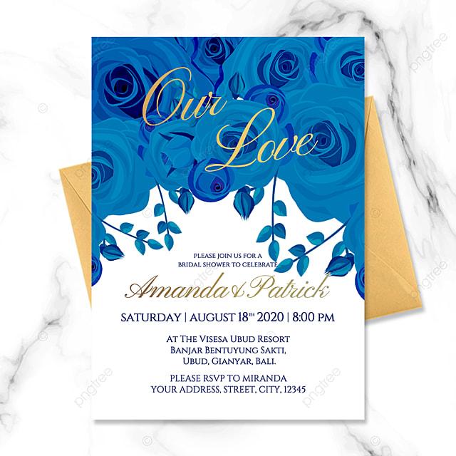 modern luxury high end exquisite golden gradient blue rose flower happy wedding invitation