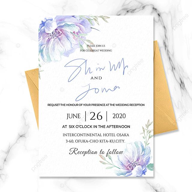 simple fashion fresh style watercolor effect romantic beautiful blue flower wedding invitation