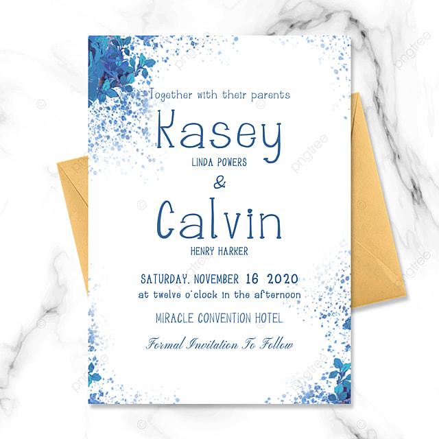 simple modern art creative watercolor ink fresh style blue flower wedding invitation