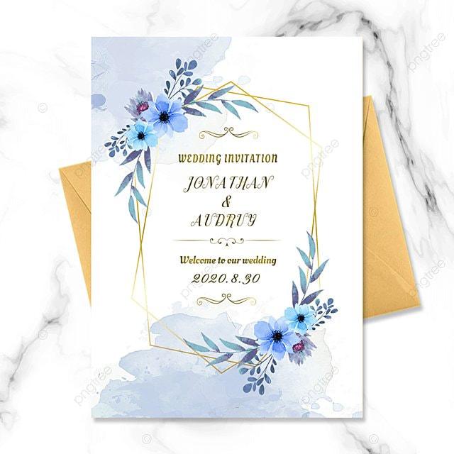 watercolor blue flowers wedding invitation