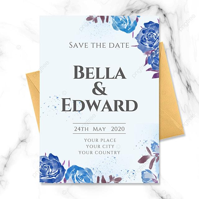 blue floral fresh wedding invitation
