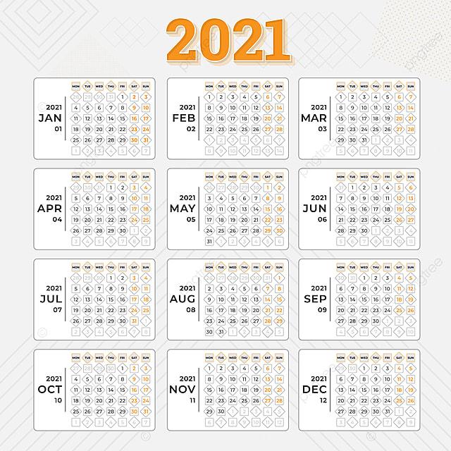 Calendrier 2021 Modèle Calendrier 2021 Mise En Page 12 Mois