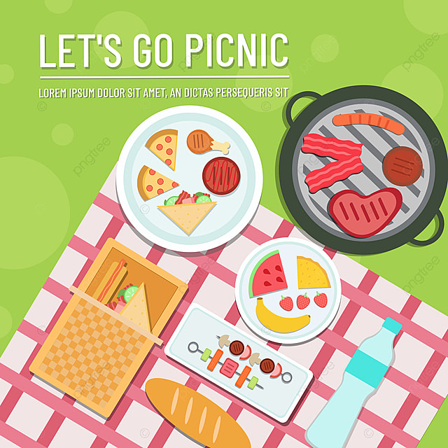 hand drawn commercial green lawn sandwich bacon picnic day sns banner