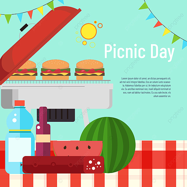 hand drawn commercial plaid tablecloth watermelon burger picnic day sns banner
