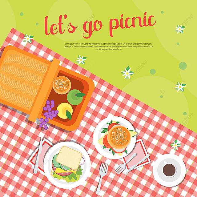 hand painted commercial plaid table cloth realistic burger picnic day sns banner