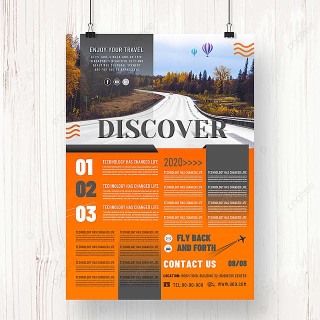 fashion orange travel agency promotion poster design