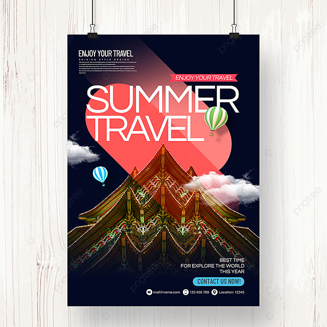 fashion simple color gradient style travel agency theme promotion poster