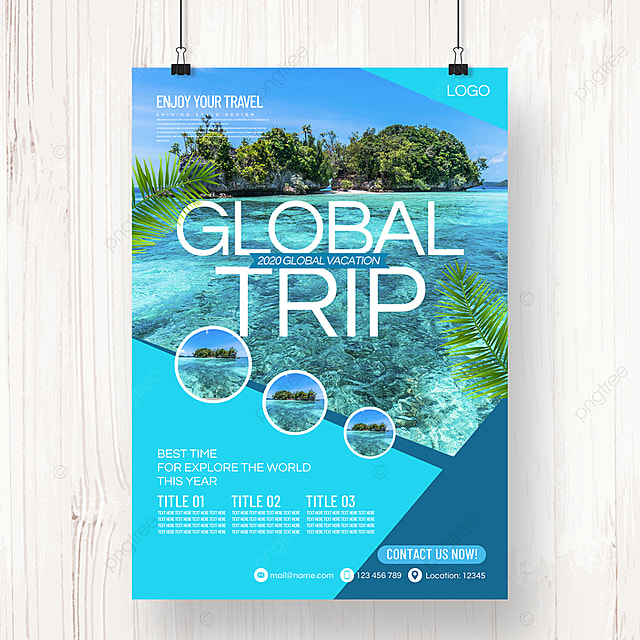 fresh and simple business style tourism agency summer promotion poster