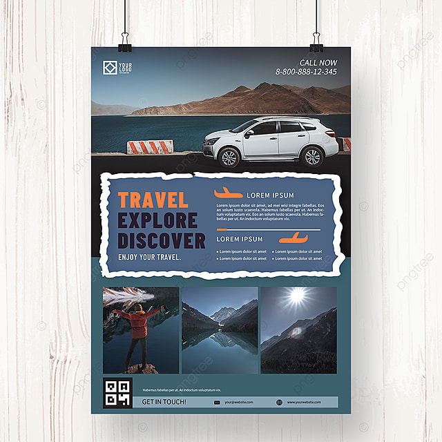 gray blue tourism agency summer promotion poster