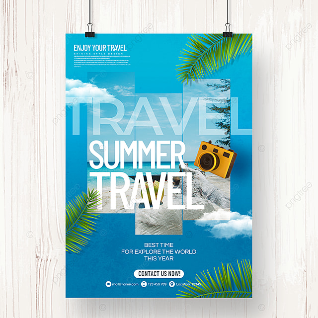 modern fashion simple color gradient style tourism agency holiday poster