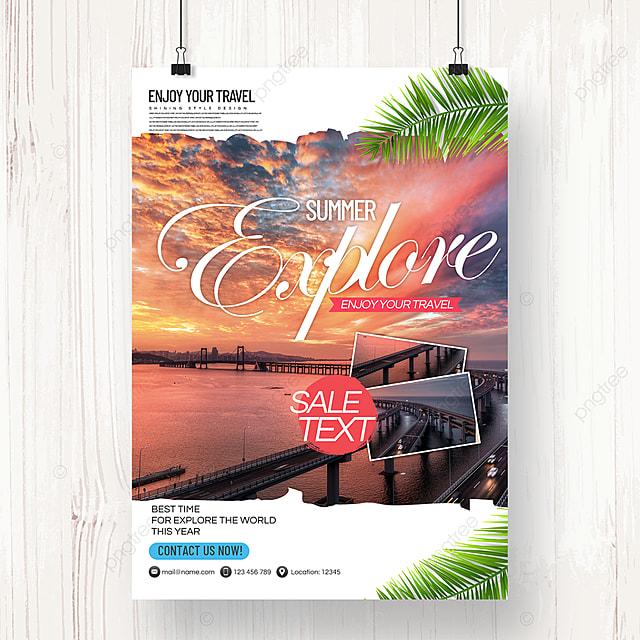 modern minimalist fresh style tourism agency holiday poster