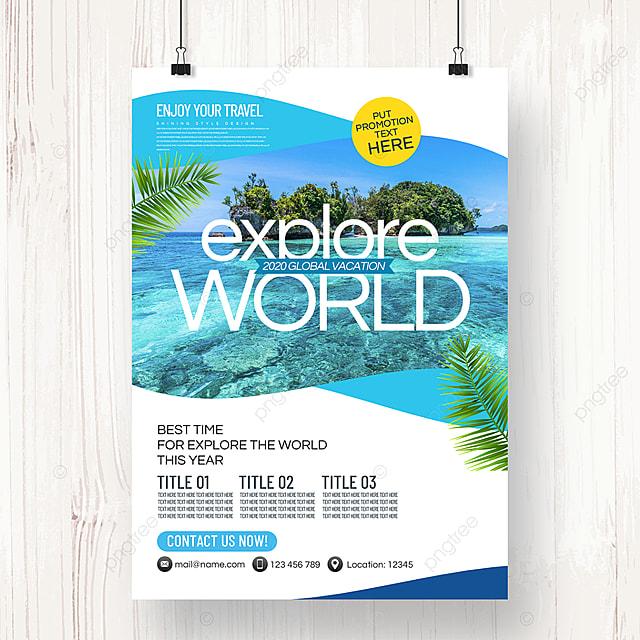 modern stylish minimalist travel agency summer promotion poster