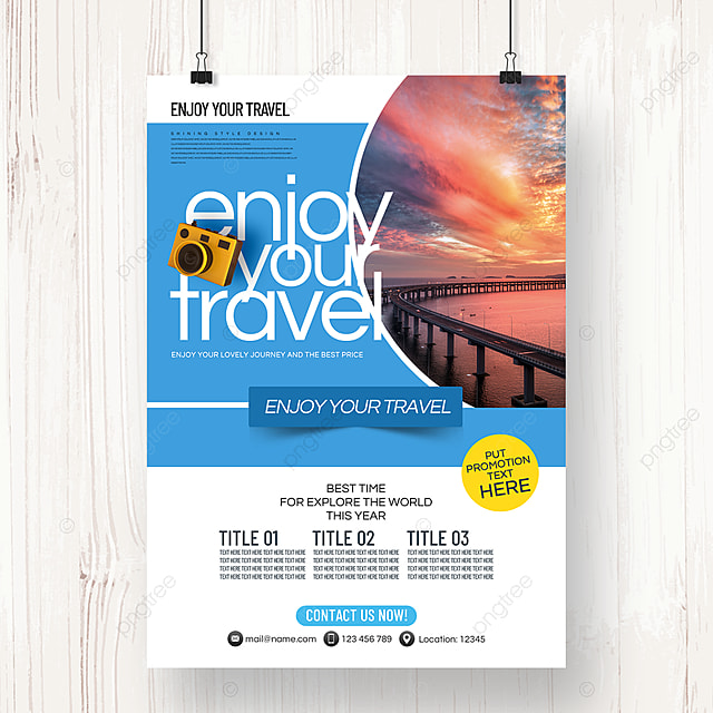 simple business fresh style summer travel agency theme promotion poster