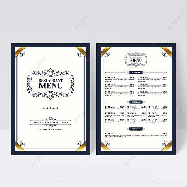Romantic European French Food Western Restaurant Menu Flyer