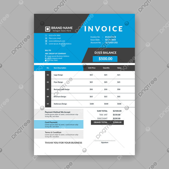 Clean And Minimal Blue And Black Color Business Invoice Template Business Sales Quotation Bill Voucher Format Invoice Format Template Free Invoice Vector Format Design Template For Free Download On Pngtree
