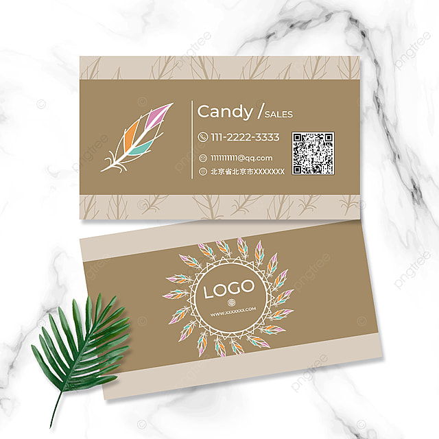 color feather simple business card