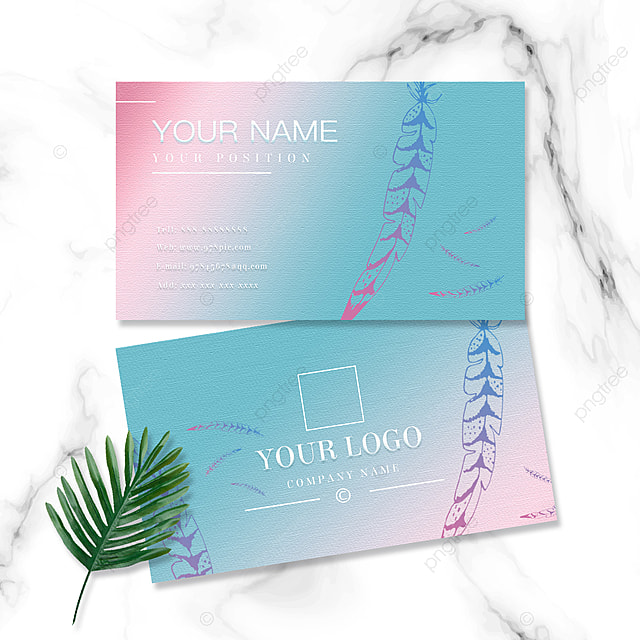 colorful gradient feather business card