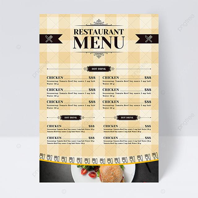 european style simple fashion knife fork lattice background restaurant menu flyer