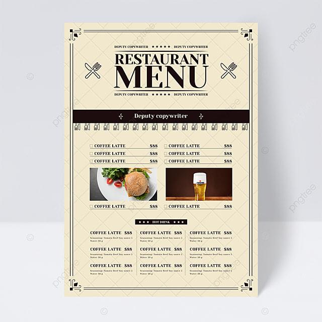 european style simple fork cutter plaid background restaurant menu flyer