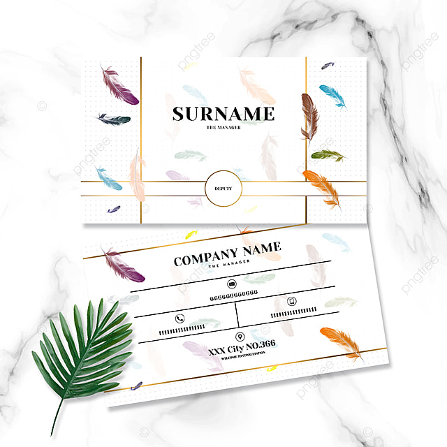 fashion simple color feather business card