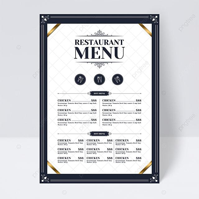 high end simple light color plaid background knife and fork restaurant menu flyer