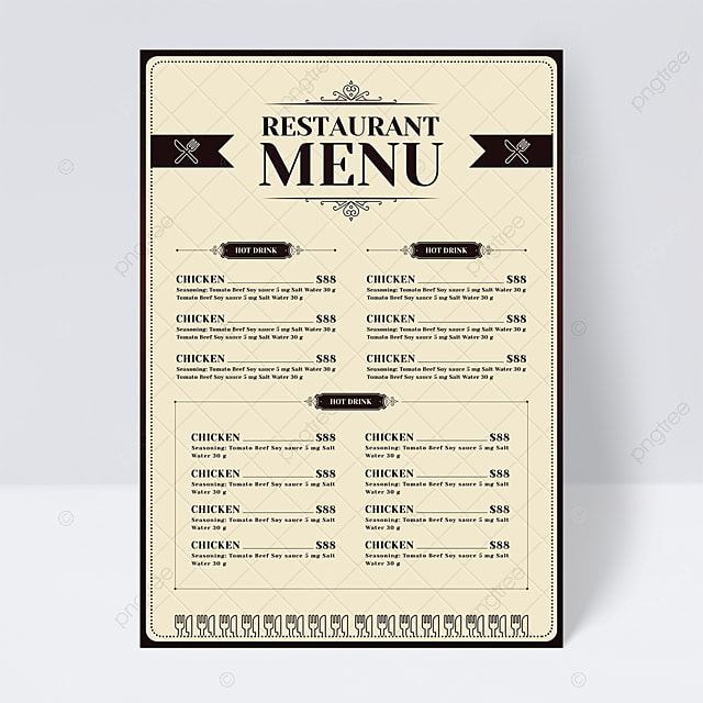 simple and stylish light color knife and fork restaurant menu flyer