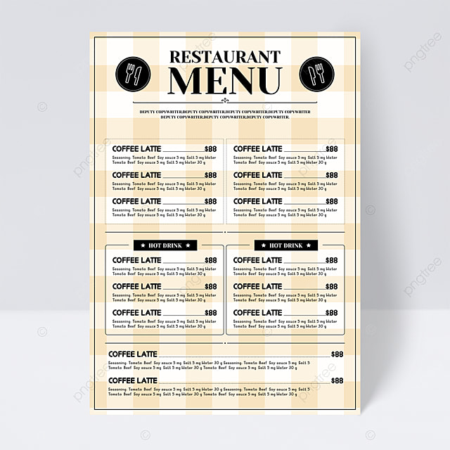 simple and stylish light yellow knife and fork plaid background restaurant menu flyer