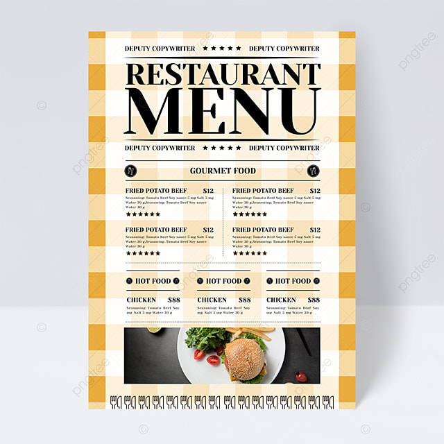simple and stylish yellow plaid background knife fork restaurant menu flyer