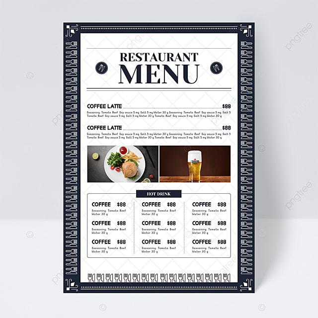 simple high end blue plaid background knife fork element restaurant menu flyer