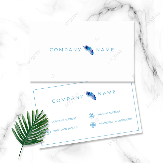 simple modern watercolor effect colorful feather business card