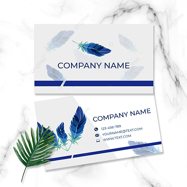 business card hand painted feather white blue