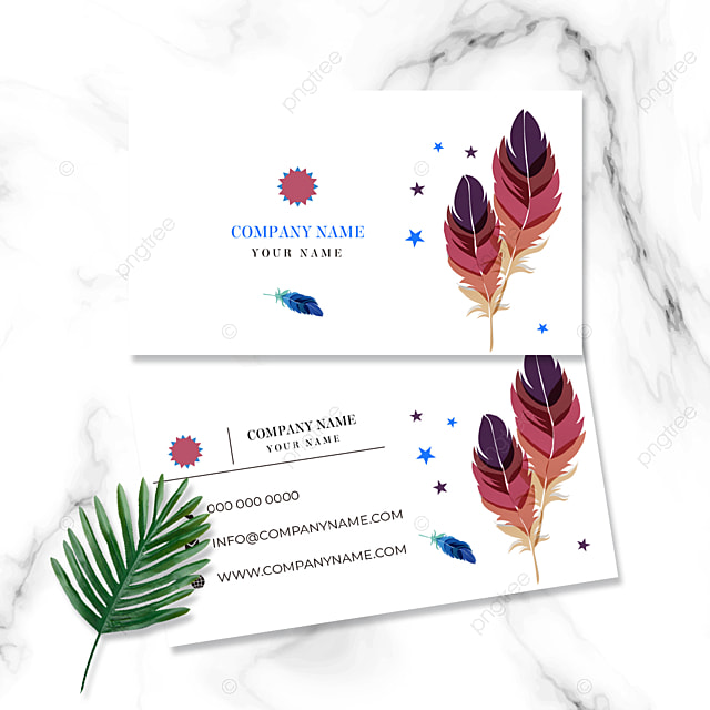 card business card hand drawn feather white