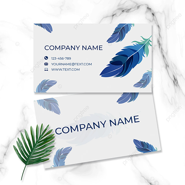 card hand painted feather white blue