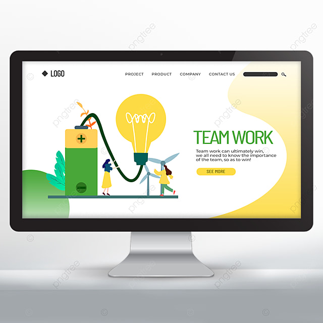 cartoon character teamwork promotion web design