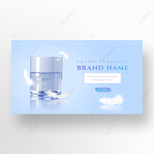 clean and simple white feather light blue skin care product promotion homepage