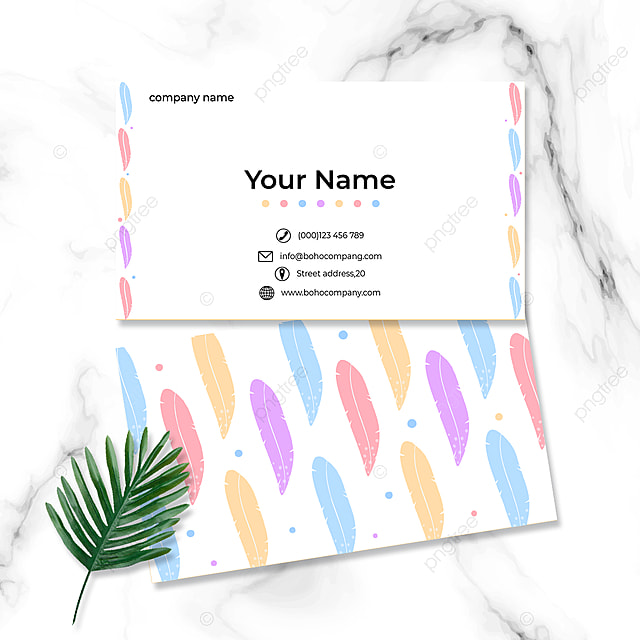 colorful feather business card