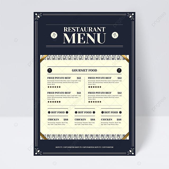 european retro blue knife fork restaurant menu flyer